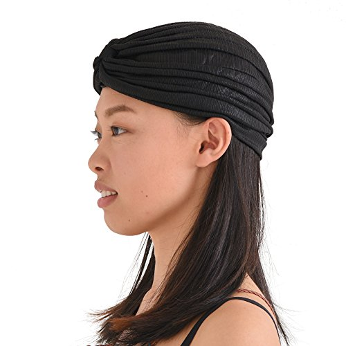 Womens Fortune Teller Turban - Metallic Fashion Afro Accessory Headwrap Hair Hat Boho Chemo Wrap Black ()