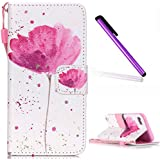 iPhone 6 Plus Case, iPhone 6S Plus Wallet Case, EMAXELER Flip Folio Case, Beautiful illustration PU Leather Flip Protective Case with Stand Wallet for iPhone 6 Plus/6S Plus-A Flower