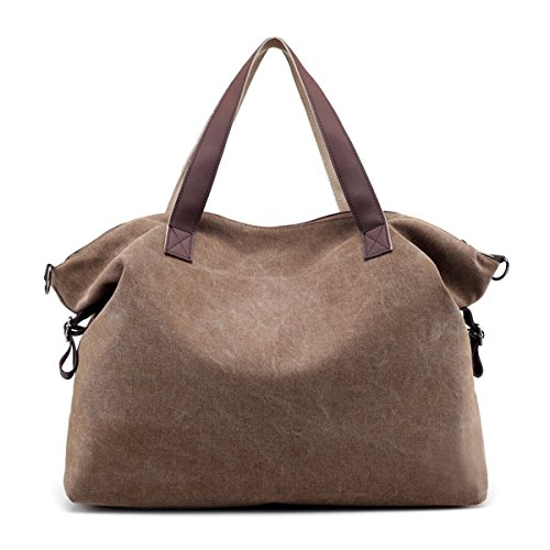 Tote Way Large Bag Practical Two Shoulder Handbag Hobo Canvas Kanodan Capacity Casual Coffee Women Bag F5HxgwP4n