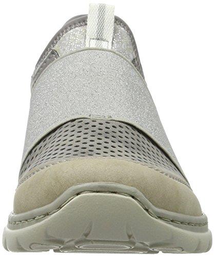 Rieker L3287, Mocasines para Mujer Gris (Vapor/steel/silverflower / 42)