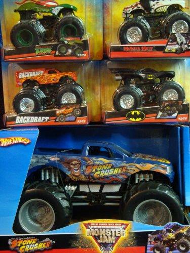 Torino Stone - Hot Wheels Durable Diecast Monster Jam Stone Crusher 1/24 With Backdraft, Dalmation Mutt, Batman, Ninja Turtles 1/55