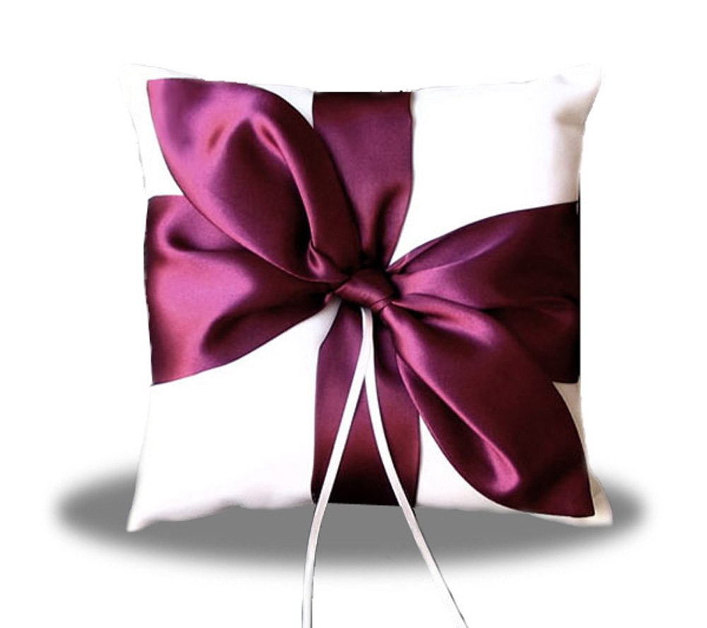SACASUSA(TM) Burgundy Wine Satin Bow Ivory Wedding Ring pillow bearer