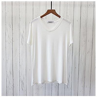 Xmy Couleur solide d'été T-shirt avec col rond les femmes printemps lâche et souple noir à col en V T-shirt manches courtes T-shirt en bas code sont