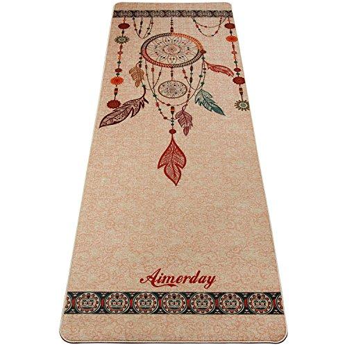Indian Pattern Hemp (AIMERDAY Premium Natural Jute Yoga Mat With Pure Nutural Base, 5mm Thick Extra Long 72