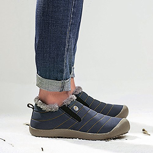 SITAILE Snow Boots, Women Men Fur Lined Waterproof Winter Outdoor Slip on Boots Ankle Snow Booties Blue-low Top