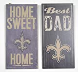 New Orleans Saints sports wall decor 2 piece set. Includes Best Dad and Home sweet home wall plaques. Great for father's day gift.