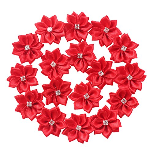 (YAKA 60pcs 1.1inch Satin Ribbon Flowers Bows Rose W/Rhinestone Appliques Craft Wedding Christmas Gift Accessories Ornament Red)