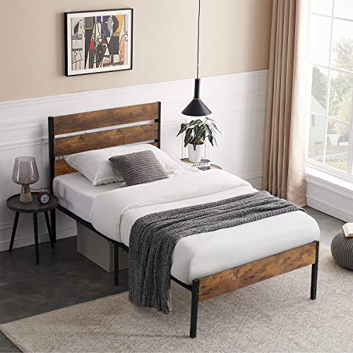 VECELO Platform Twin Bed Frame with Rustic Vintage Wood Headboard, Mattress Foundation, Strong Metal Slats Support, No…