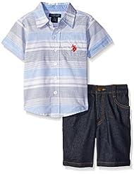 """U.S. Polo Assn. Big Boys' """"Contrast Logo"""" 2-Piece Outfit - light blue, 10"""