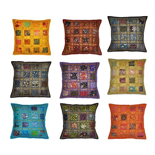 Indian Traditional Handmade Cushion Cover, Decorative Throw Pillow Cases, Embroidered Cotton Cushion Cover Home Decor Toss & Sofa Cover , Sari Patchwork Cushion Cover Indian Vintage Decor Throw Cushion Cover Embroidery Patchwork Pillow Case 16x16 Inches Lot of 10 Pcs (Pillow Toss Cushion Sari Covers)