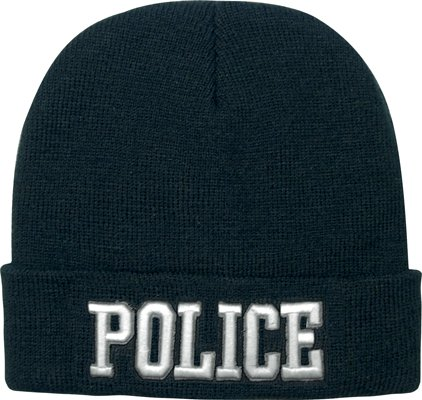 Black Deluxe POLICE Embroidered Watch Cap w/White Lettering