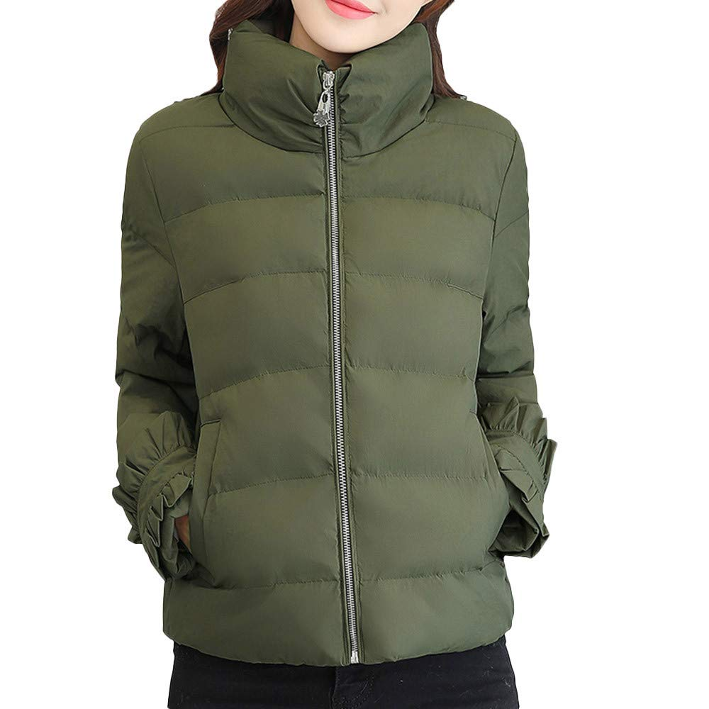 AOJIAN Women Jacket Long Sleeve Outwear Zipper Cotton Padded Quilted Solid Color Coat