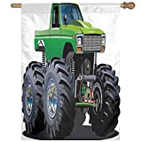 HUANGLING Giant Monster Pickup Truck With Large Tires And Suspension Extreme Biggest Wheel Print Home Flag Garden Flag Demonstrations Flag Family Party Flag Match Flag 27''x37''