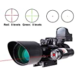 Pinty 3-in-1 Combo 3-10x40EG Mil Dot Riflescope Reticle with Red Laser Sight ...