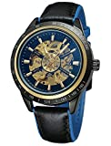 Carrie Hughes Men Steampunk Automatic Watch Discolored Glass Skeleton Mechanical Stainless Steel Waterproof Watch (Blue CHA1)