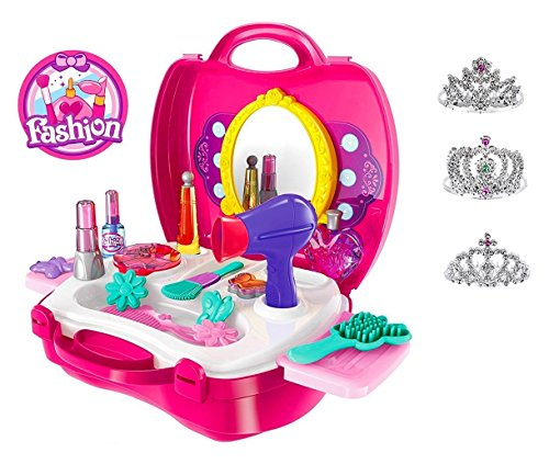Pretend Play for Girls, 21 Pieces Vanity Set w/ Mirror +3 FREE Tiaras, Beauty Hair Salon Kit | Play Makeup Toys for 3 Years Old | No Chemicals, No BPA -