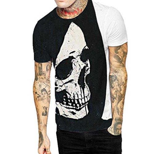 WM & MW Novelty Boy Men's Tee Shirt Slim Fit Casual Short Sleeve O-Neck Skull Print Funny Graphic T Shirt Top Blouse (XXL, Black) by WM & MW