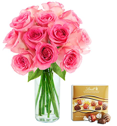KaBloom Valentine's Collection: Sweet Pink Bouquet of 12 Fresh Cut Pink Roses (Long Stemmed) with Vase and One Box of Lindt Chocolates
