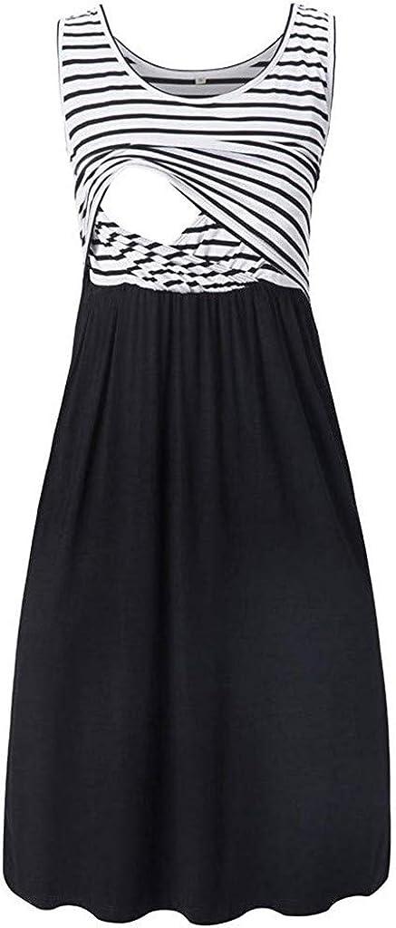 Allence Damen Umstandskleid Schwangerschaft Kleid Umstandsnachthemd Stillnachthemd /Ärmellos Stillkleid f/ür Schwangere und Stillzeit
