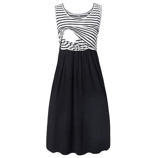 7dc0a1081e25a Suma-ma Maternity Sleeveless Stripe Patchwork Dress Nursing Breastfeeding  Loose Casual Tunic Dresses (Black