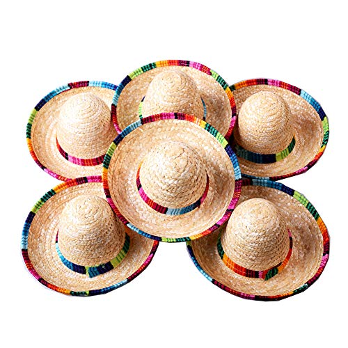 Crazy Night Natural Straw Medium Sombrero/New Design Medium Mexican Hat,Tabletop Party Supplies Medium Size (6 pcs)