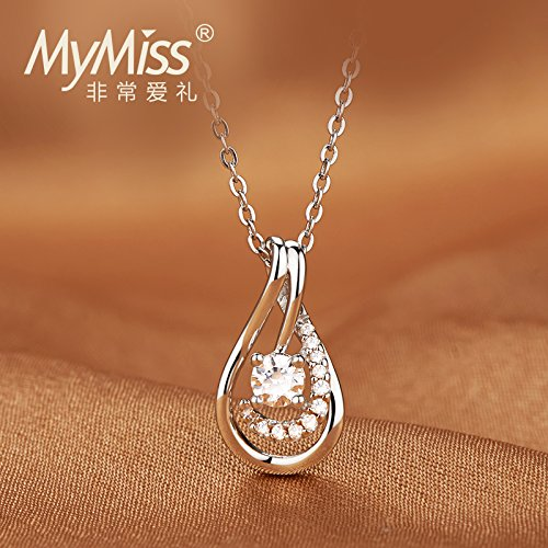 Generic Official_ Silver _Mymiss_ summer new drop necklace Pendant short _paragraph_ clavicle chain fashion jewelry _zircon_ necklace Pendant by Generic