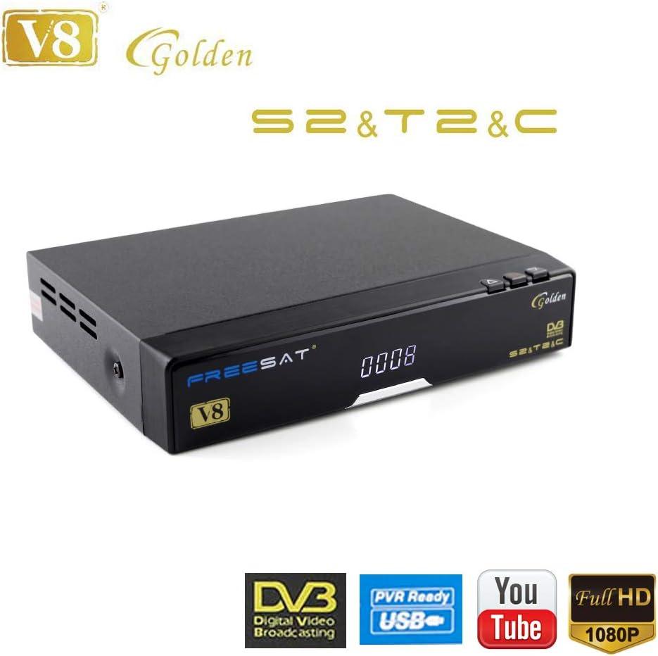 FREESAT V8 Golden Receptor de Satélite DVB-S2 DVB-T2 DVB-C FTA 1080p Full HD Digital Decoder Receptor de TV, Soporte IPTV, Ethernet, Youtube, PowerVu, ...