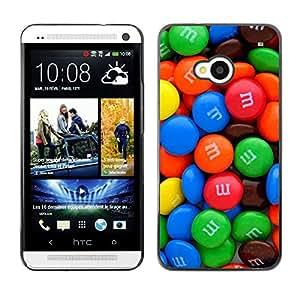 For HTC One M7 Case , Chocolate Sweets Colorful Caramel - Diseño Patrón Teléfono Caso Cubierta Case Bumper Duro Protección Case Cover Funda