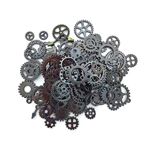 Aoyoho 100 Gram Assorted Vintage Gun Black Metal Steampunk Gears Charms Pendant Clock Watch Wheel Gear for Crafting (Gun Black) (Gears Vintage)