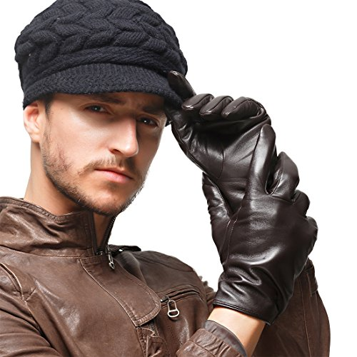 Nappaglo Men's Classic Lambskin Leather Gloves Touchscreen Pure Cashmere Lining Winter Warm Driving Mittens (M (Palm Girth:8