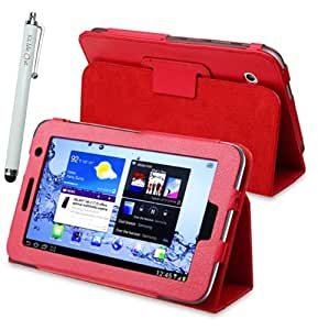 Kit Me Out ES ® Funda libreta + Blanco Lápiz óptico capacitivo / resistivo para Samsung Galaxy Tab 2 ( 7 pulgadas 7.0 ) P3100 / P3110 tablet - Rojo Multifunción de lujo