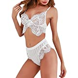 2019 Women's Sexy Lace Embroidered Lingerie Corset Hollowed Lace Top Bra+Pants Elastic Floral Appliques Underwear Set (White, L)
