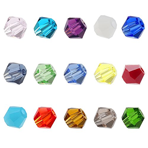 d Bicone Shape beads 15 Color 1500pcs glass beads for jewelry making Wholesale Mix lot(ZYSJZ001-B) (Glass Beads Jewelry Making)