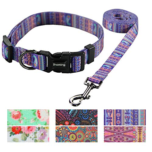 Ihoming Pet Collar Leash Set Halloween Bat Combo Safety Set for Daily Outdoor Walking Running Training Small Medium Large Dogs Cats Paisley-Purple -