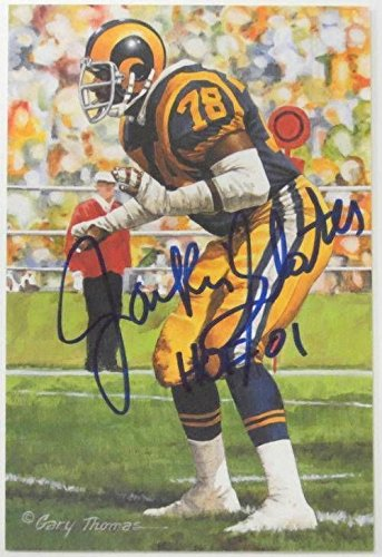 Jackie Slater Rams Signed 2001 Hall of Fame Goal Line Art Card GLAC HOF 01 SI