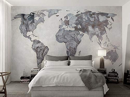 Amazon Com Murwall Map Wallpaper Monochrome World Map Wall