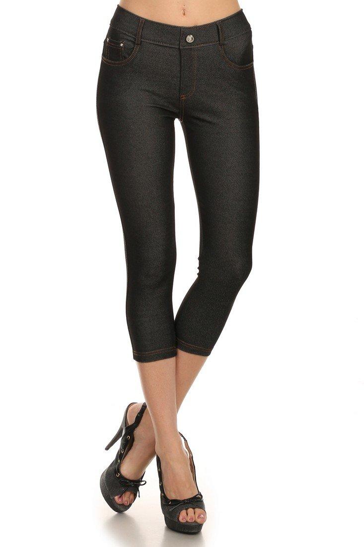 ICONOFLASH Women's Capri Jeggings - Slimming Cotton Pull On Jean Like Cropped Leggings Plus Size Options (Black, 2XL)