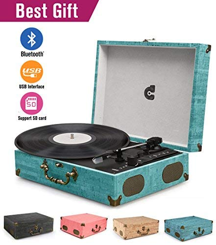 (CMC Portable Bluetooth 3 Stereo Speed Turntable with Built in Speakers, Vintage Style Vinyl Record Player, Sky Blue)