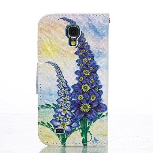 PowerQ Bunte Muster Reihe PU Artificia-Leder Tasche Holster Hülle Etui Fall Case Cover < Purple flower | für IPhone 5S 5 5G SE IPhone5S IPhoneSE >          mit schönen hübschen Muster Druck Detailzeichnung Gel