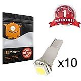 LED Monster 10-Pack White LED Light T5 17 37 73 74 79 Wedge Instrument Panel Gauge Cluster Bulbs Dashboard Indicator Lamp