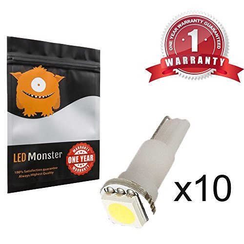 LED Monster 10-Pack White LED Light T5 17 37 73 74 79 Wedge Instrument Panel Gauge Cluster Bulbs Dashboard Indicator Lamp by LED Monster