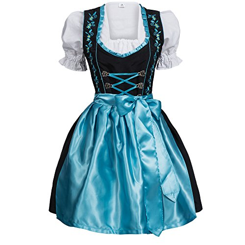 [Gaudi-leathers Women's Set-3 Dirndl Pieces Embroidery 46 Light Blue/Black] (Dirndl Costume)