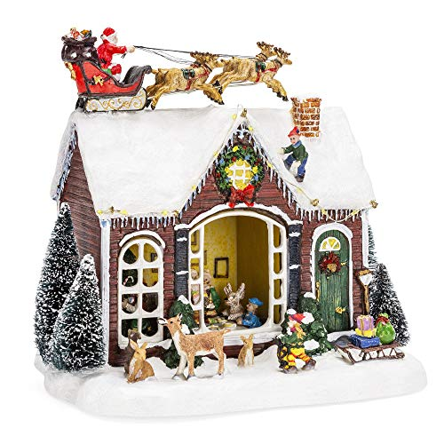 Best Choice Products Pre-Lit Musical Tabletop Christmas Village Decoration for Fireplace Mantle, Centerpiece w/ 9 Songs]()