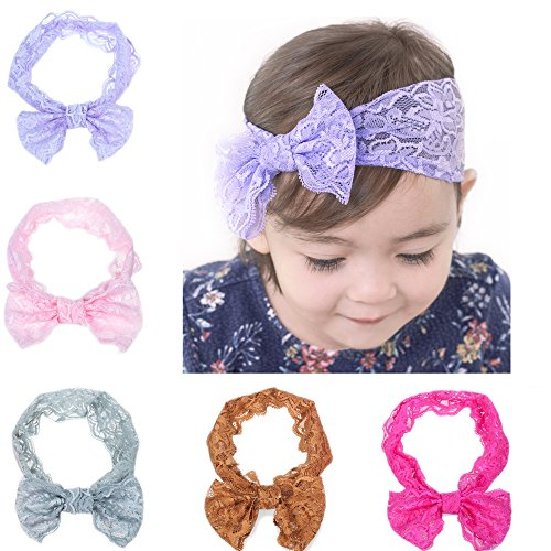 Price comparison product image Kingyee Kids Baby Headbands cute Hairbands Girl's super soft Hair Bows Newborn Headband(5pcs)