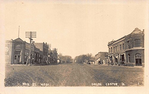 Real Photo Postcard Main Street West, Bank Times in Dallas Center, - Center Herald