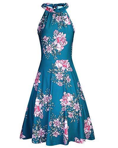OUGES Women's Halter Neck Floral Summer Casual Sundress(Floral-14,XL)