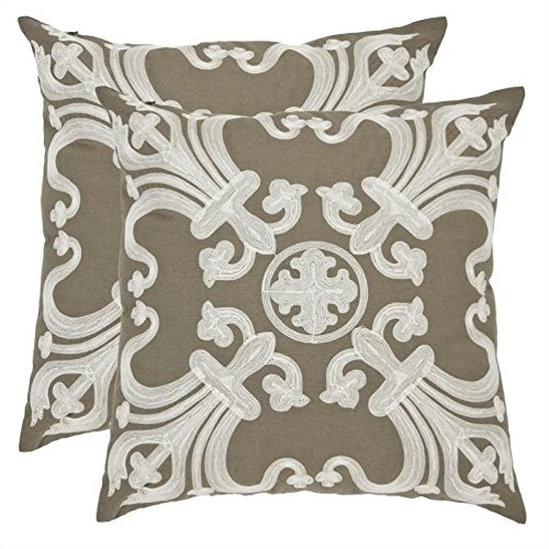 Collette Square - Safavieh Pillows Collection Collette Decorative Pillow, 22-Inch, Olive, Set of 2