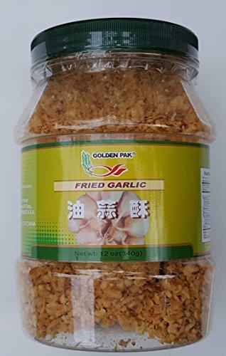 Golden Pak Fried Garlic 12oz (340g) Plastic Jar Crispy Chinese (12 Oz 340g Jar)