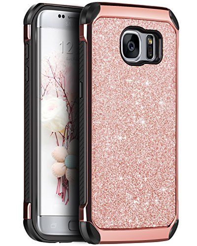 Galaxy S7 Edge Case, BENTOBEN 2 in 1 Luxury Glitter Bling Hybrid Hard Covers Laminated with Sparkly Shiny Faux Leather Chrome Shockproof Bumper Protective Case for Samsung Galaxy S7 Edge, Rose Gold