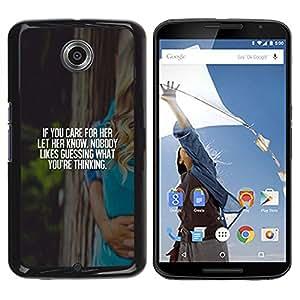 Caucho caso de Shell duro de la cubierta de accesorios de protección BY RAYDREAMMM - Motorola NEXUS 6 / X / Moto X Pro - Love Vignette Poster White Text